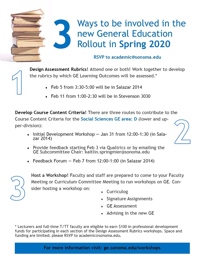 Ways to be involved in the new General Education Rollout in Spring 2020